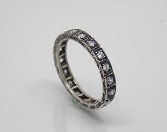 Retro, Vintage Sterling Silver 925 White Stone Wedding band ring