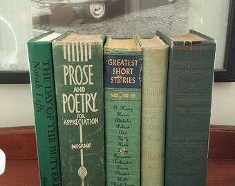 Set of Vintage Green Books
