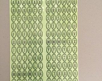 Green Alphabet Stickers