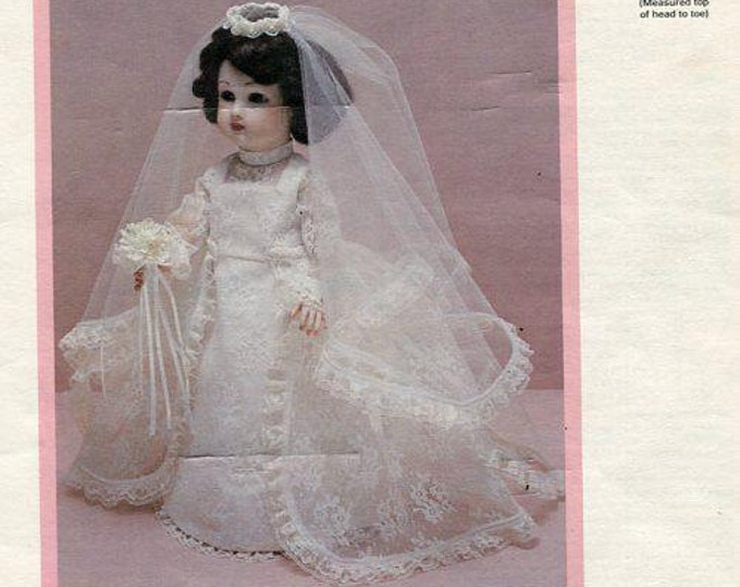 "FREE usa SHIP Byron Doll Pattern 1980's by-1 Steiner Juliana Bride fits 14"" (Color) Wedding Dress Veil Old Store Stock Sewing Pattern"