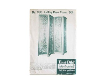 1960 Easi-Bild Folding Room Screen, Build-It-Yourself, No 930 Full Size Woodworking Pattern, Never Opened, Pristine Condition