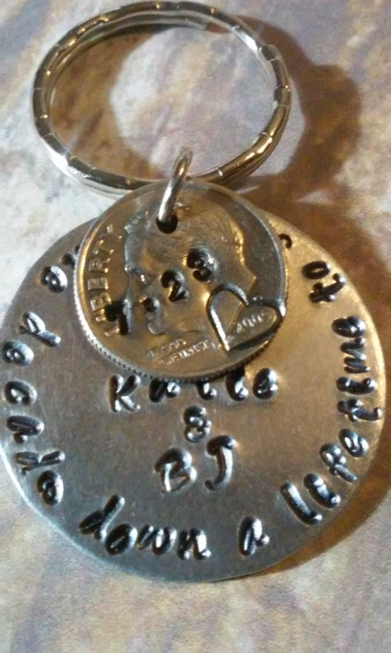 Anniversary Personalized Dime Keychain Custom By