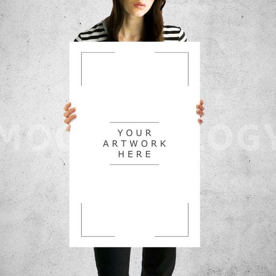 11x17 vertical paper mockup girl holding poster mockup for 11x17 mockup