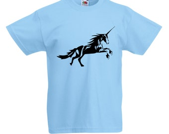 Kids Unicorn T-Shirt / Childrens Animal T Shirt in Pink, Grey, Light Blue, Yellow, Orange / Ages: 3-4, 5-6, 7-8, 9-11, 12-13