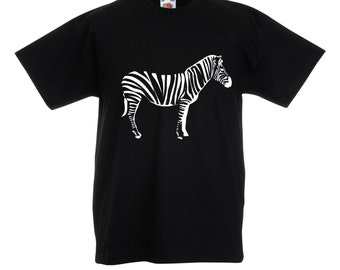 Boys Black T-Shirt / Kids Zebra Tee / Childrens Zoo Animal T Shirt in Grey, Pink, Blue, White / Ages: 3-4, 5-6, 7-8, 9-11, 12-13