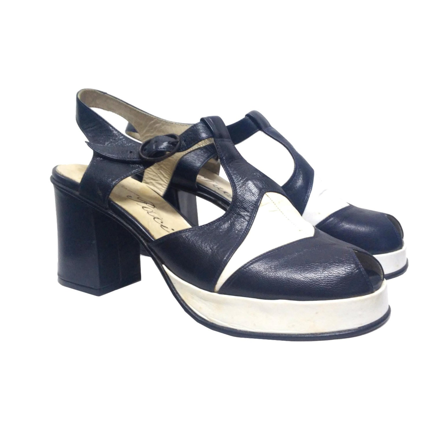 platform vintage shoes 70s new chuncky heel blue by lavfashion
