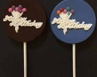 Happy Birthday Chocolate Lollipops