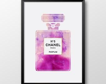 Watercolor Chanel 5 print, Printable Coco Chanel perfume, Modern art, Chanel 5 perfume, Coco Chanel print 237