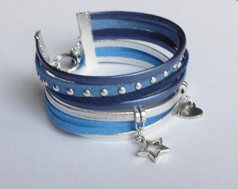 row studded Suede Blue and silver bracelet