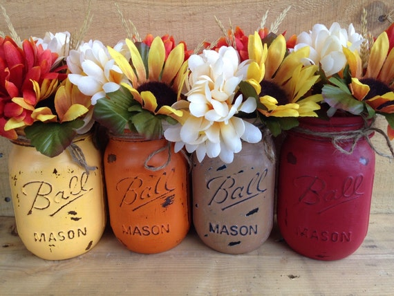 Painted mason jars fall vases decor rustic home