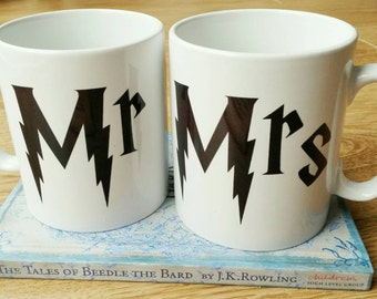 Harry Potter Mr and Mrs gift Mug set - Wedding Gifts - Engagement gifts