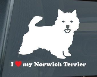 I Love my Norwich Terrier Die Cut Vinyl Sticker - 821