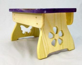 Kids' step stool | purple step stool | children step stool | wooden step stool