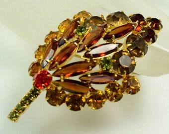 Juliana Rhinestone Leaf Pin