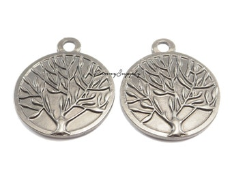 5 pieces - Tree Branch , Tree of life, Nature Charms Pendants Gunmetal Black CGB-080-SRR.3