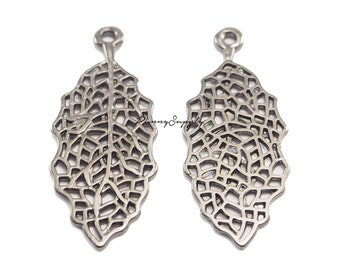 10 pieces - Stencil Filigree Leaf Jewelry Charms Pendants Gunmetal Black CGB-083-SRR.3