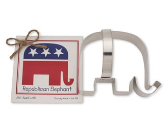 Ann Clark Republican Elephant Cookie Cutter with Recipe Card - Made in the USA-01-182
