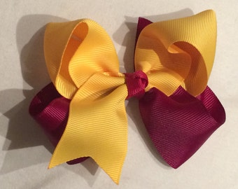 """Boutique Hairbow, 4"""" bow, hair clip, Maroon and yellow/gold Ribbon"""