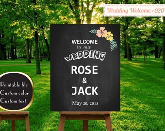 welcome wedding sign, welcome to our wedding sign, wedding welcome sign wood, wedding welcome sign , Custom Wedding Welcome Sign | W20
