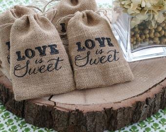 Love is Sweet Burlap Drawstring Favor Bags (Set of 12)
