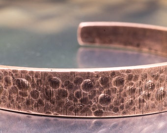 Hand Forged Copper Cuff Bracelet, Textured, Natural Finish