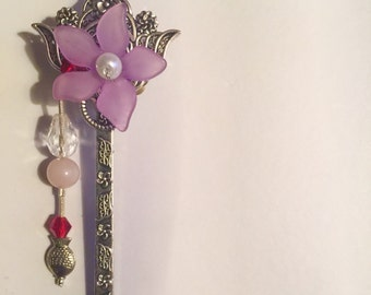 Purple Flower Hair Pin