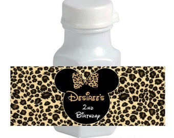 Minnie Mouse personalized Cheetah / Leopard Print mini Bubble Labels