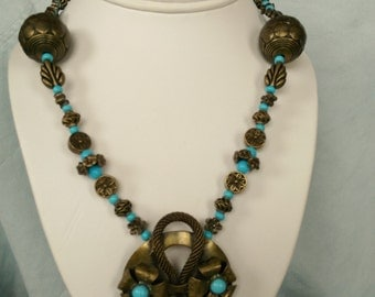 Turquoise & Bronze Handmade Necklace