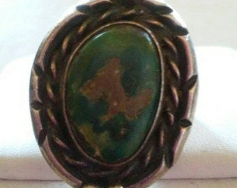 Navajo Sterling Silver and Green Turquoise ring