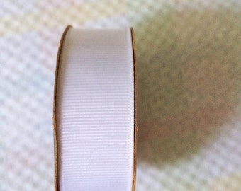 "New White Grosgrain Ribbon 7/8"" wide x 6 yards (18 ft) long on Spool Offray by Jo-Ann"