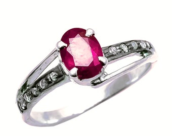 Precious Ruby Gemstone & Diamonds Rings For Women with 925 Sterling Silver Jewellery Product