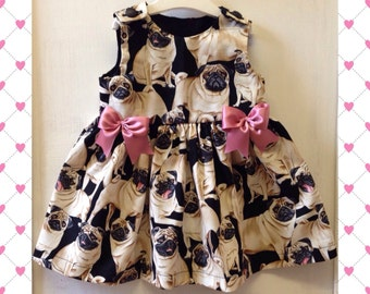 Skeletots Baby pug love pugs dress newborn to 24mth  baby girl
