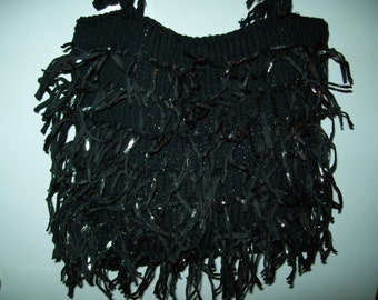 bag has hand knitted with shimmering fringes 35 cm/25cmh