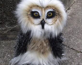 Whites and Black Owl Monster Art Doll Handmade OOAK Sculpture Plush Creature