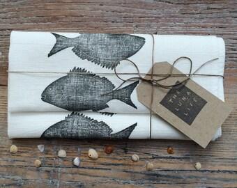 """100% Linen """"Mallacoota Bream"""" Hand Printed Fish Luxury Kitchen Tea Towel"""