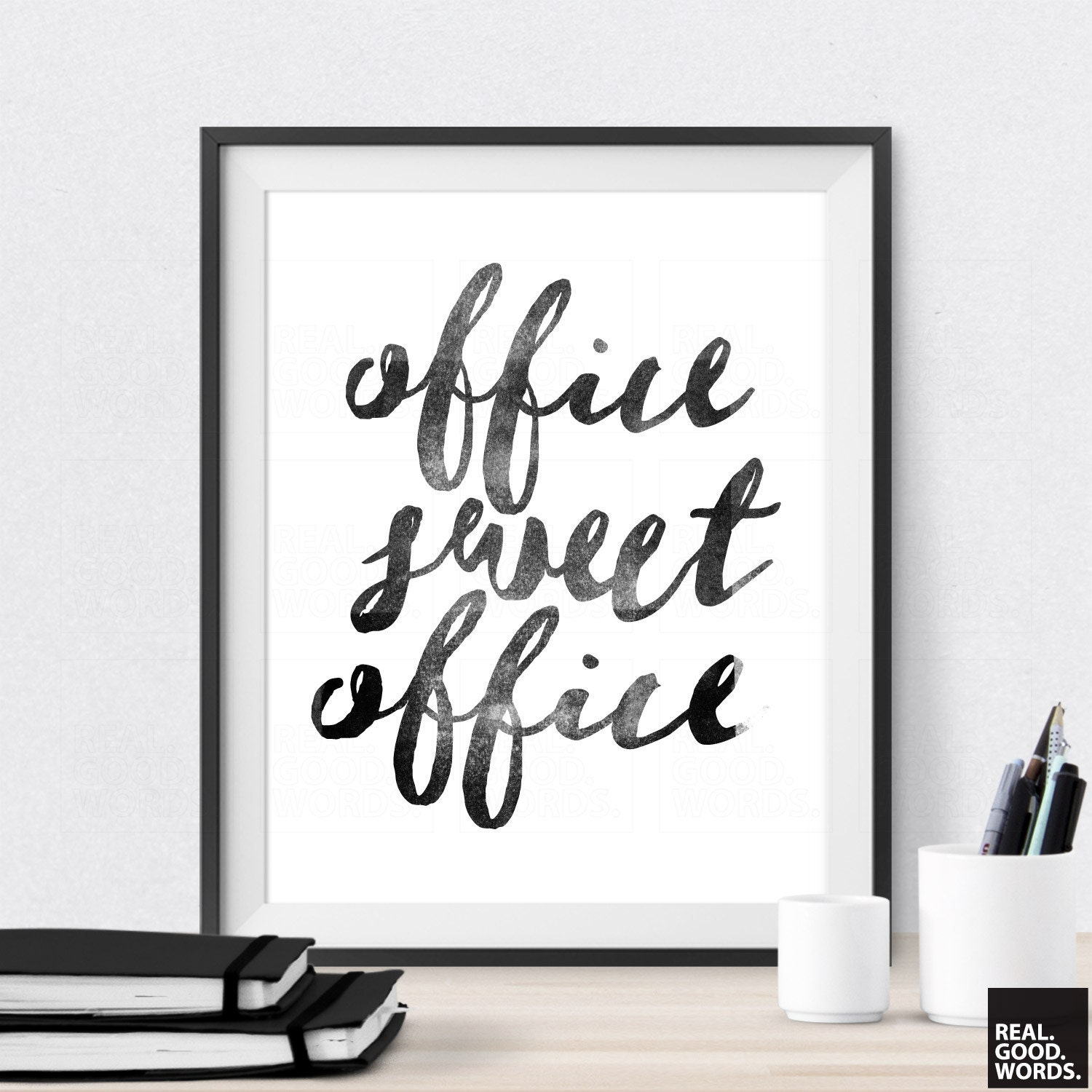 office sweet office printable office wall art by realgoodwords. Black Bedroom Furniture Sets. Home Design Ideas