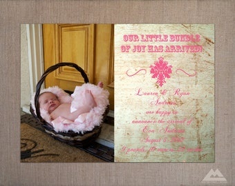 Rustic Baby Announcement Photo Card, Printable Photo Card Announcement, 5x7 DIY Baby Announcement