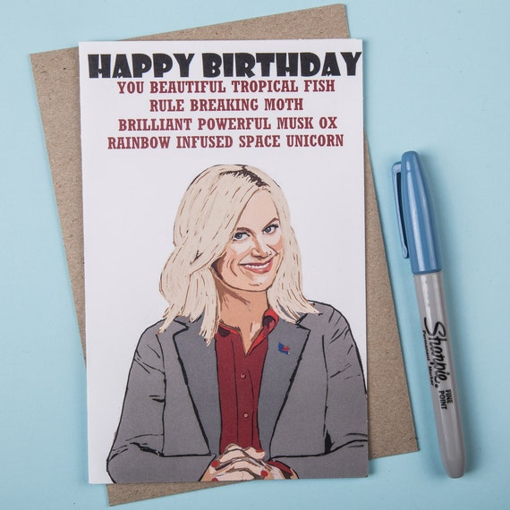 Parks and Rec Leslie Knope Birthday Card Parks and Recreation