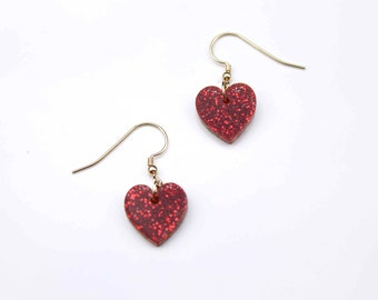 Glitter Dazzle Heart Earrings with gold filled earring hooks