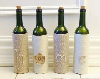 """Set of 4 Decorative Wine Bottles - """"Home is where the heart is"""""""