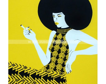 Disco Girl, Limited edition print of an acrylic on canvas painting