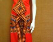 Reduced for Clearance  April Orange Angelina Dashiki African Wax Print Sun Dress Midi Dress Cotton Dress