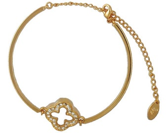 Gold Clover Bangle (Modern Simple Gold Plated Fashion Bangle Jewelry RSB1376)