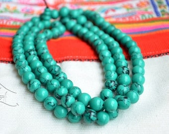 Turquoise beaded necklace - Buddhist, Tibetan turquoise and coral