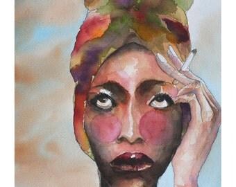 Ritratto di donna - Portrait of a woman - watercolor