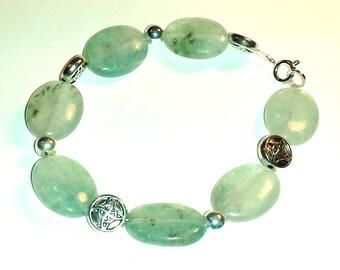 Pale Celadon Glass and Silver bracelet