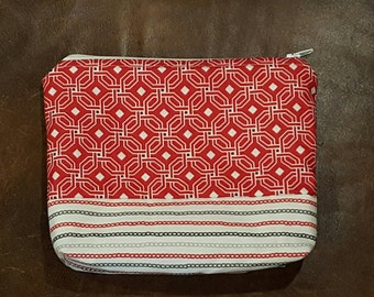 Handmade Red and Gray Patterned Zipper Pouch