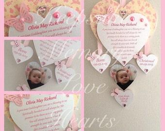Gift for Goddaughter or Godson personalised wooden keepsake heart