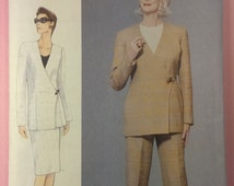 1990s woman lined jacket skirt & pants pattern / Vogue 9826 / size 8- 10 - 12 / straight wrap lined skirt / tapered pants / UNCUT