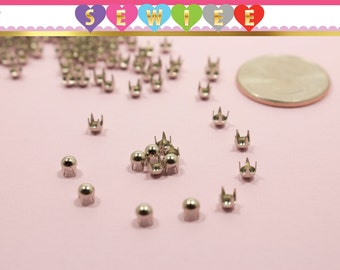 150pcs 3mm Silver Round Studs, 4 Prongs Silver Dome Nailhead  Dome Nailhead Studs  Dome Studs  DYI Studs  Leather Round Stud Spot Spike V100